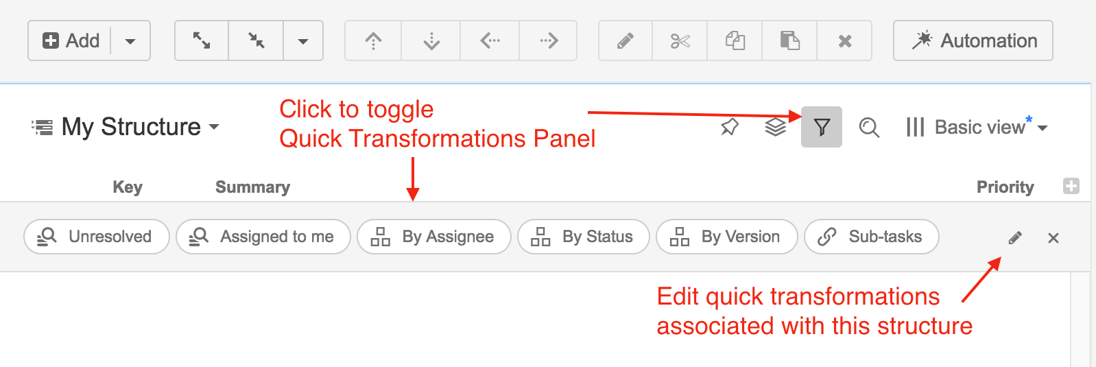 Quick Transformations - Structure Plugin for JIRA - Version