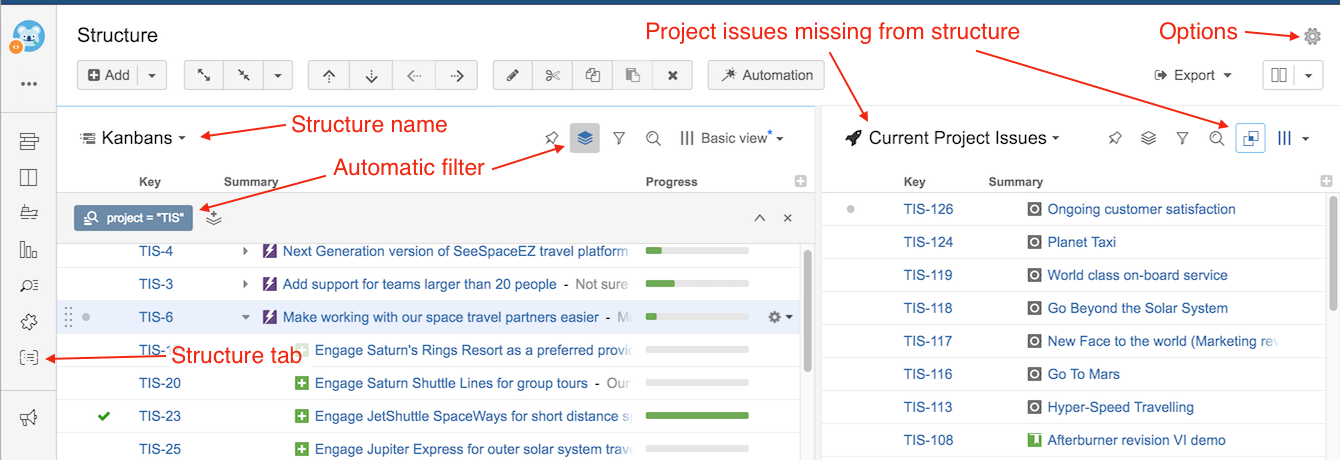 Structure on the Project Page - Structure for Jira - ALM