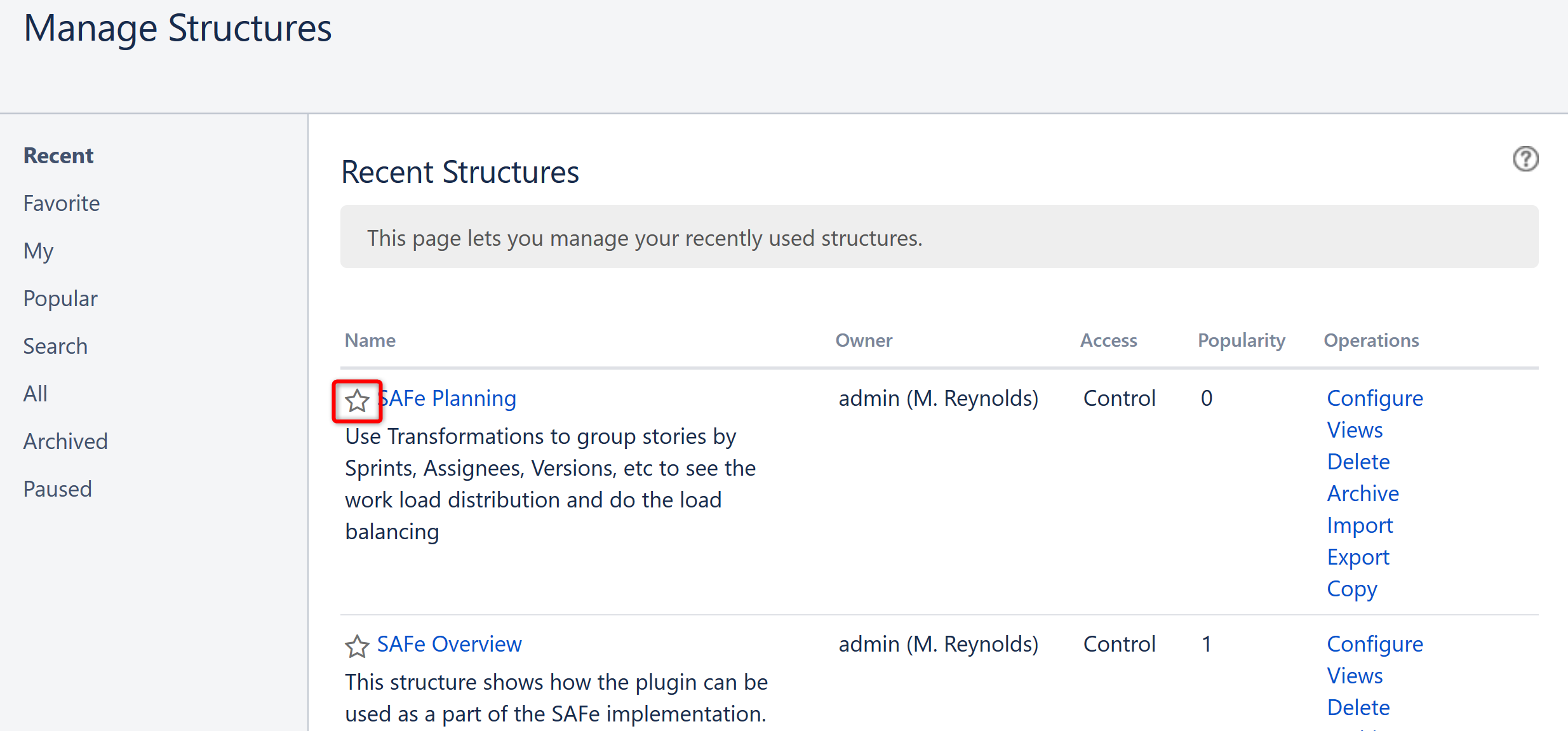 Favorite Structures - Structure for Jira - ALM Works Knowledge Base