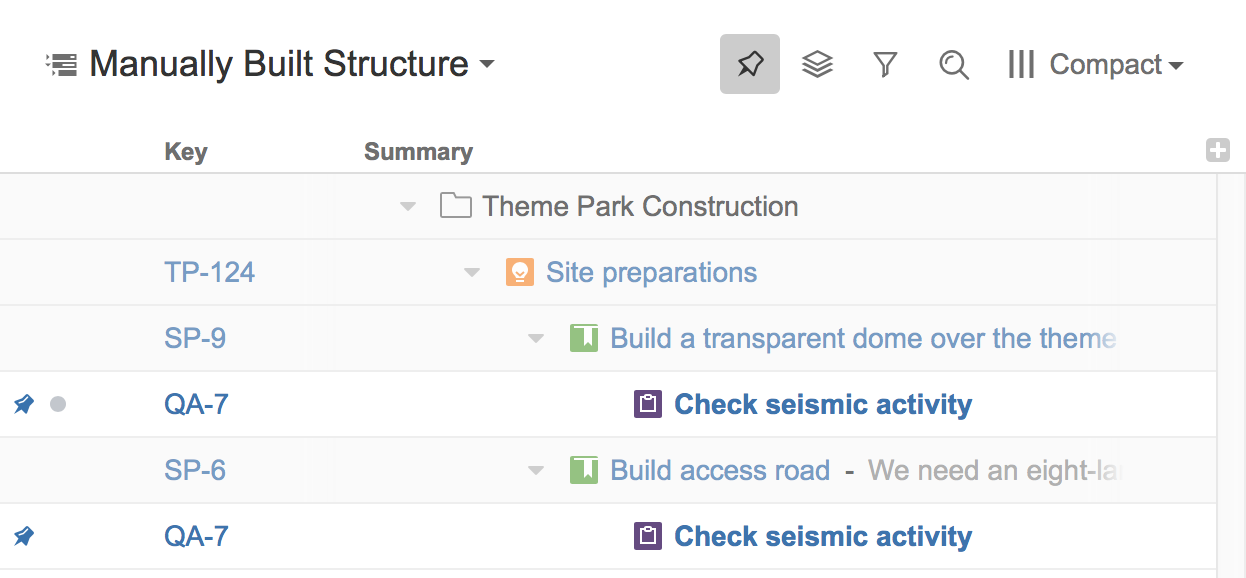 Pinned Item Mode - Structure for Jira - ALM Works Knowledge Base