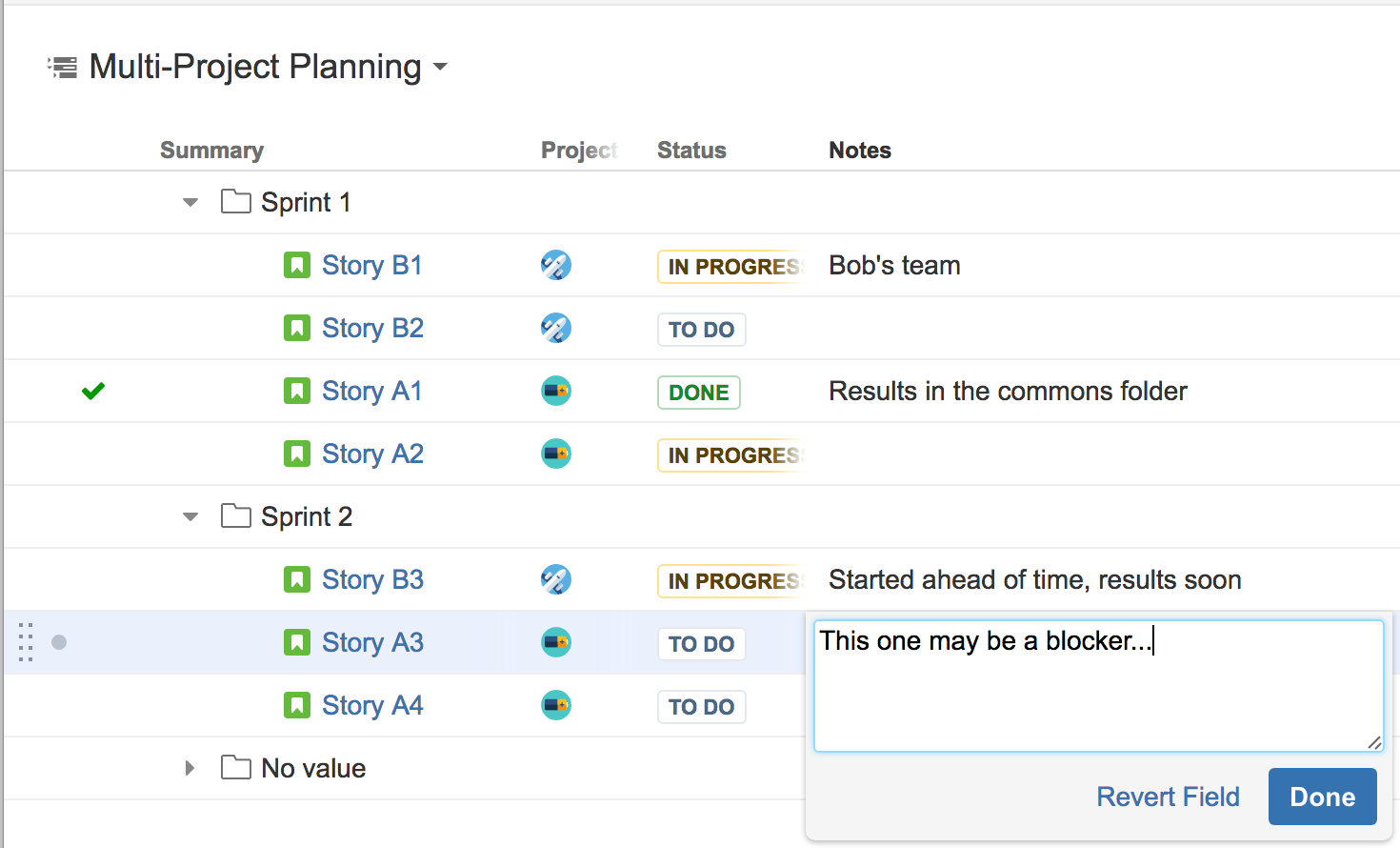 Multi-project planning, grouping by Sprint Name and using Notes column