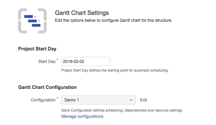 Gantt Chart Settings Structurentt Documentation Alm Works