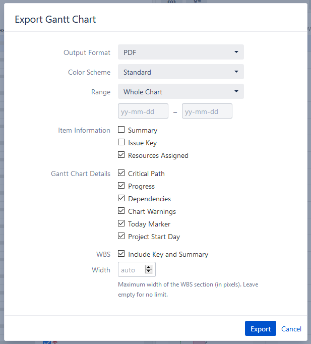 Exporting to a Printable File - Structure Gantt