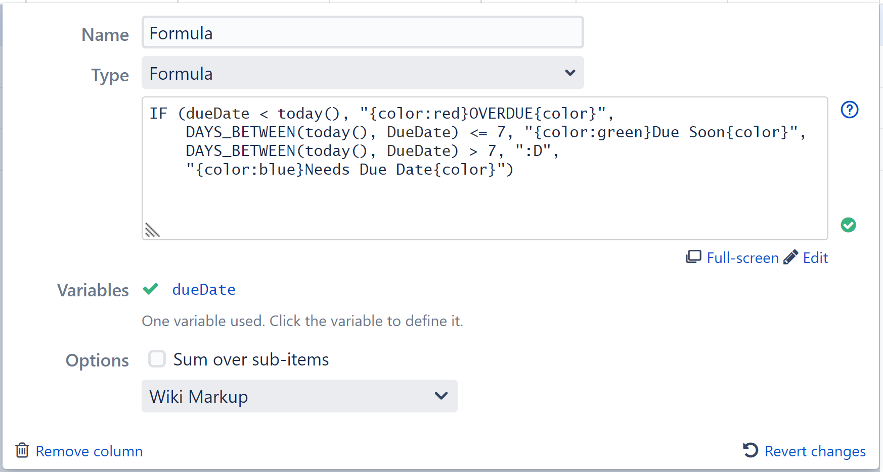 Wiki Markup in Formula Columns   Structure for Jira   ALM Works ...