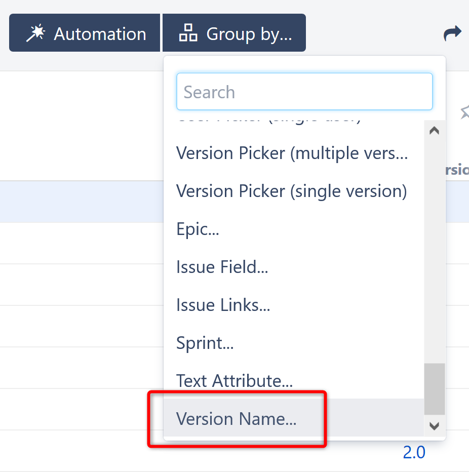 Group by Version Name - Structure for Jira - ALM Works