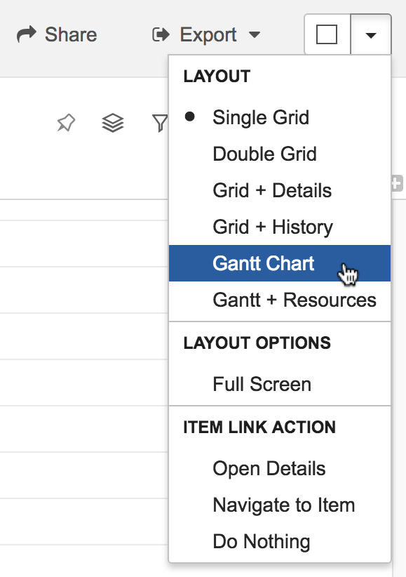 Gantt Chart Selection Menu
